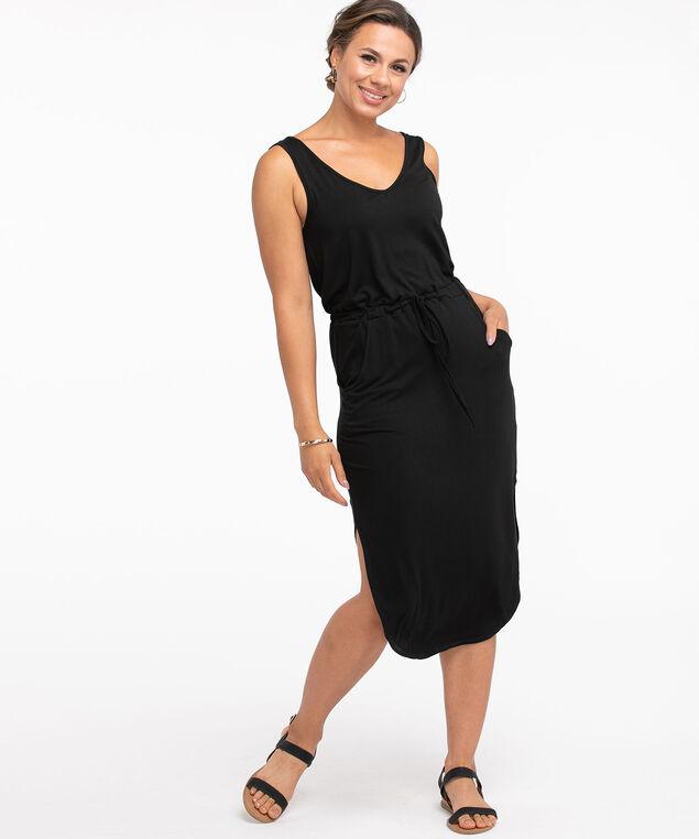 V-Neck Drawstring Pocket Dress, Black