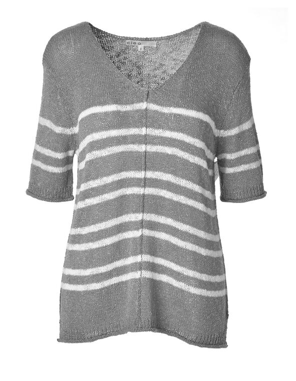 Grey Striped Lightweight Sweater, Grey, hi-res