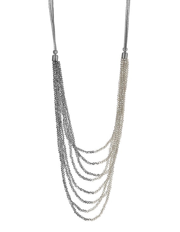 Beaded Suede Cord Necklace, Neutral, hi-res