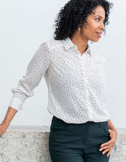 White Pattern Button Down Blouse, White, hi-res