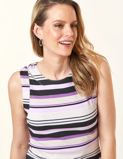 Violet Stripe Button Tee, Purple/Violet, hi-res