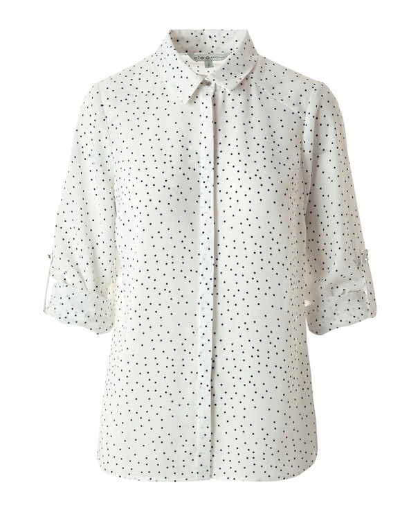 White Pattern Button Down Blouse, White, hi-res