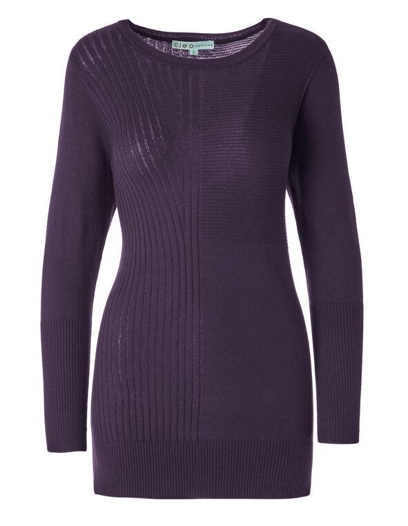 Purple Ribbed Tunic, Purple, hi-res