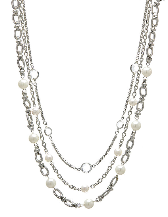 Pearl Multi-Chain Short Necklace, Silver, hi-res