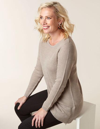 Tan Asymmetrical Pullover Sweater, Beige, hi-res