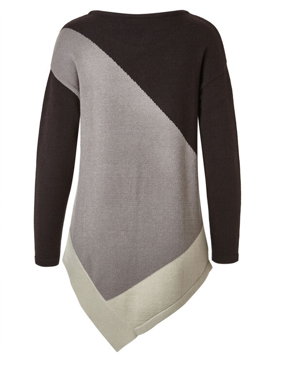 Brown Asymmetrical Tunic Sweater, Brown, hi-res