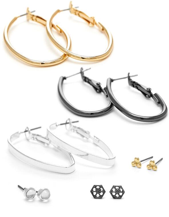 Tri-Metal 6-Pack Earring Set, Silver/Gold/Hemi, hi-res