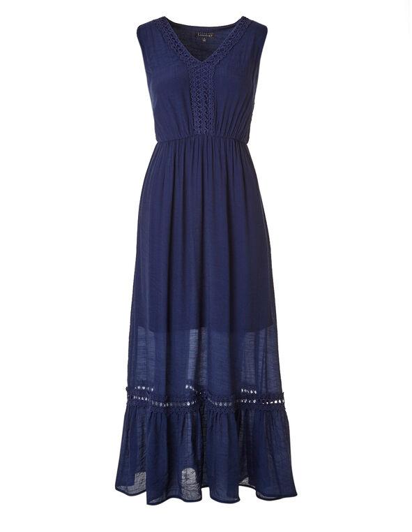 Ink Blue Gauze Maxi Dress, Ink Blue, hi-res