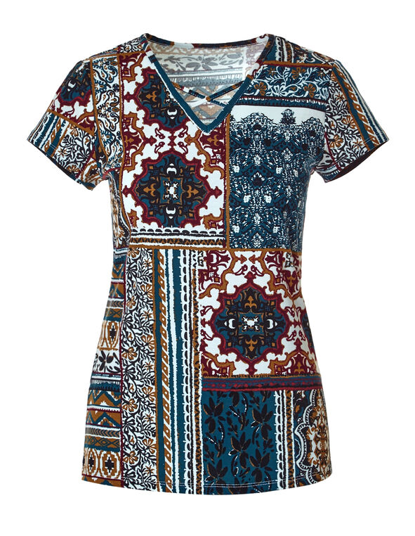 Tile Print Criss Cross Tee, White/Black/Claret/Turquoise, hi-res