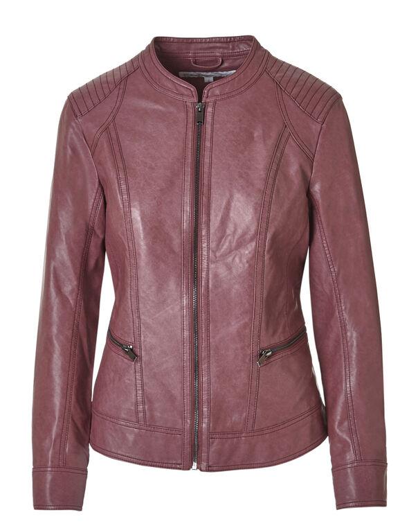 Raspberry Faux Leather Jacket, Raspberry, hi-res