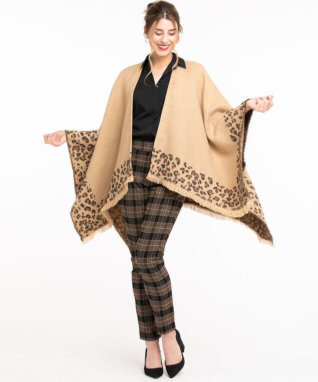 Leopard Print Reversible Wrap, Tan Leopard