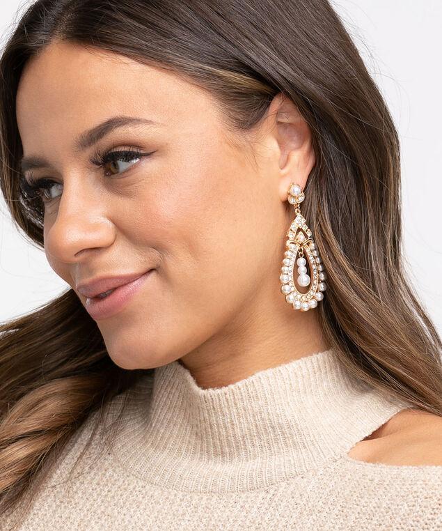 Gold Pearl Teardrop Earring, Gold