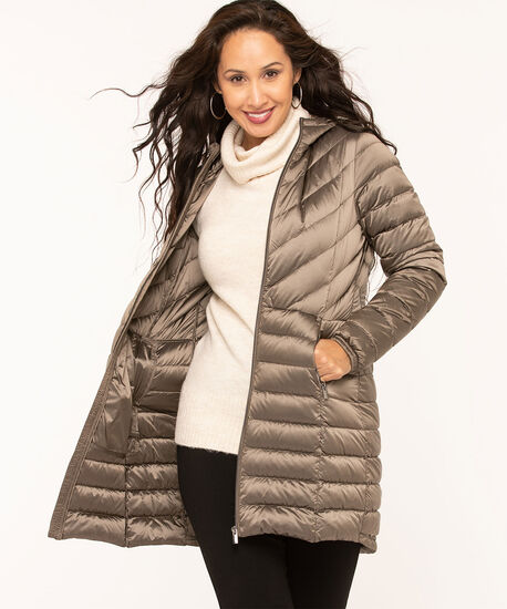 Pearlized Taupe Packable Puffer, Taupe, hi-res