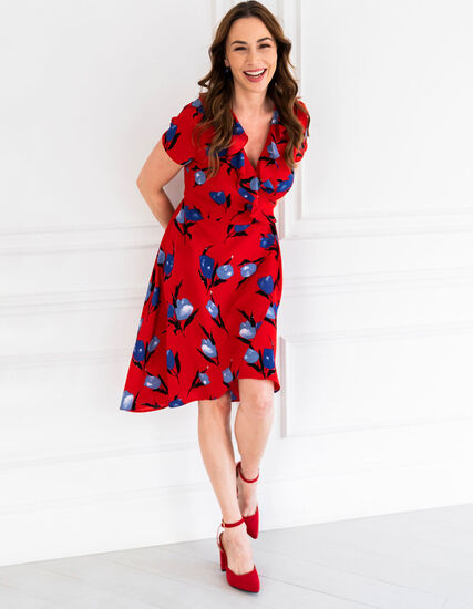 Red Floral Wrap Dress, Red, hi-res