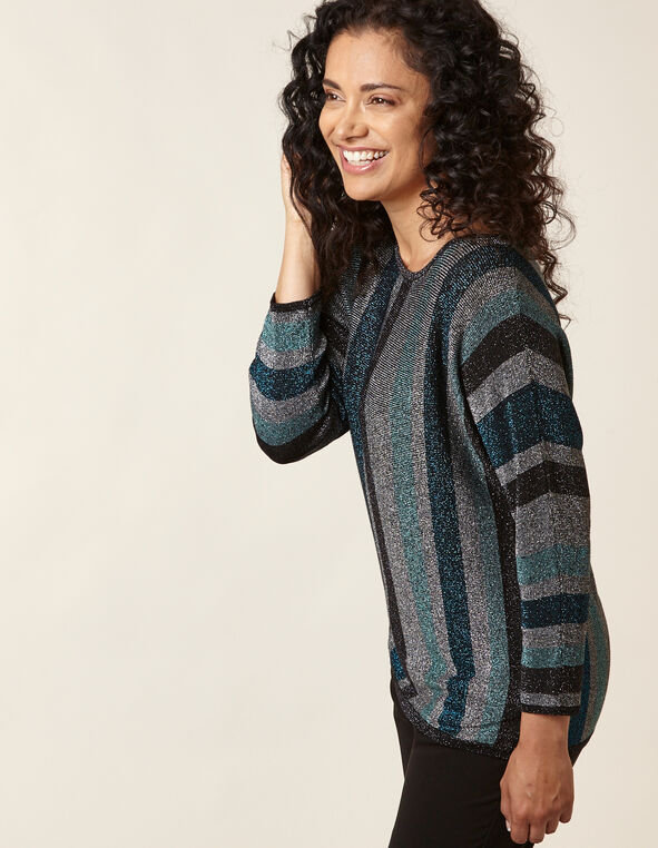 Teal Striped Lurex Sweater, Turquoise, hi-res