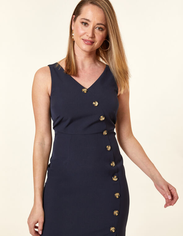 Navy Button Front Dress, Navy, hi-res