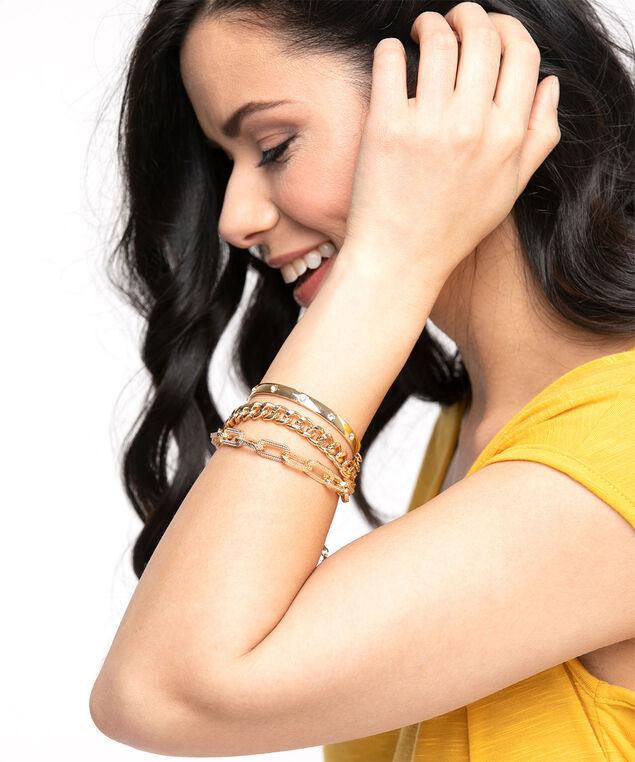 Gold Bangle Bracelet 3-Pack, Gold