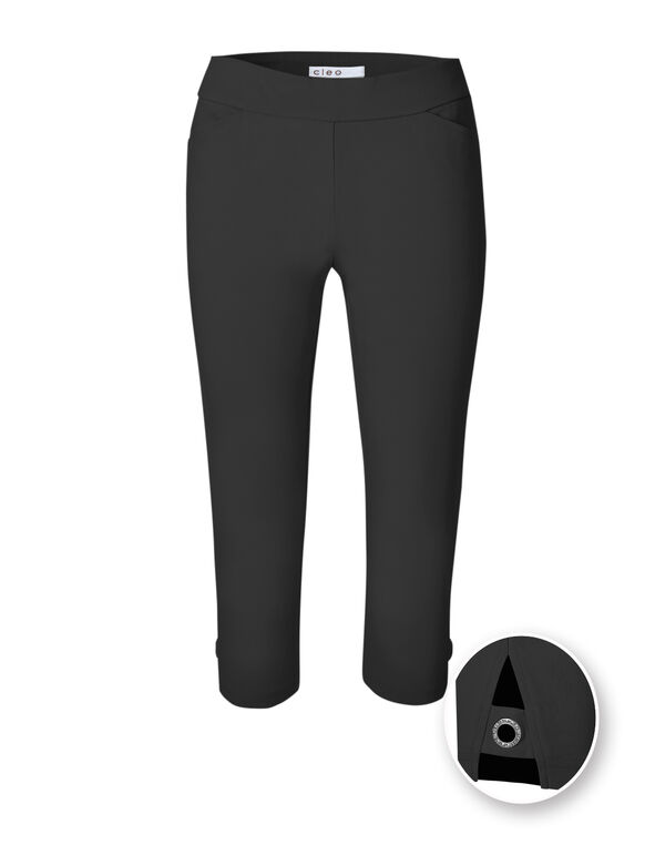 Black Capri Pull On Pant, Black, hi-res