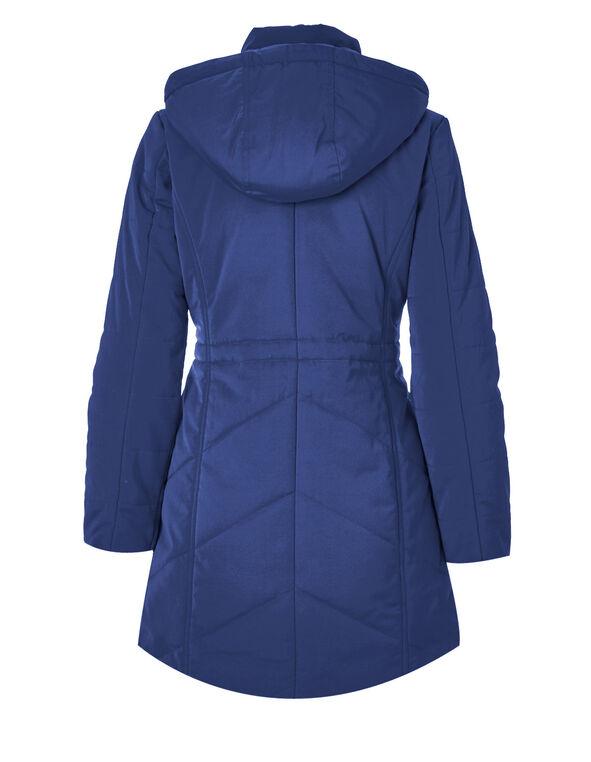 Blue Long Polyfill Coat, Blue, hi-res