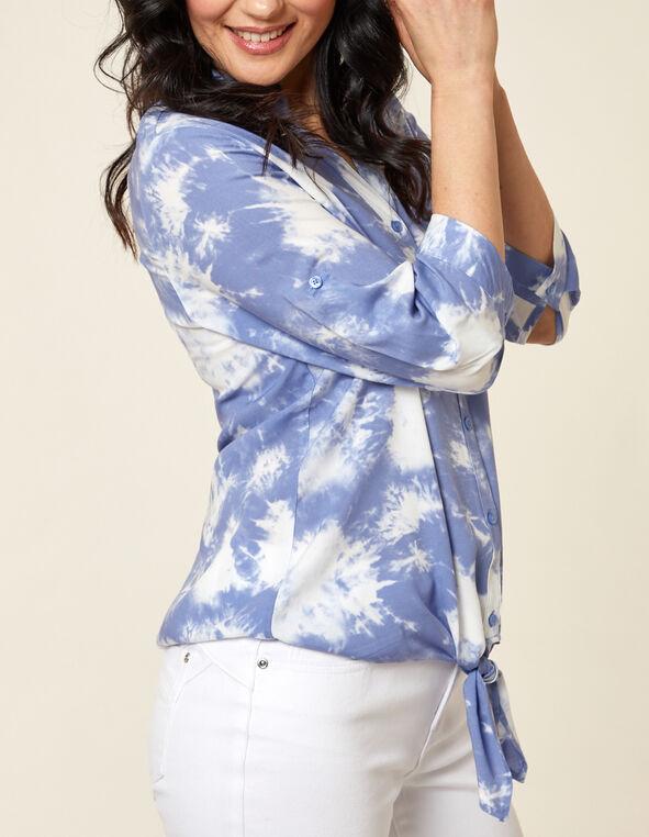 Light Blue Tie Front Blouse, Blue, hi-res