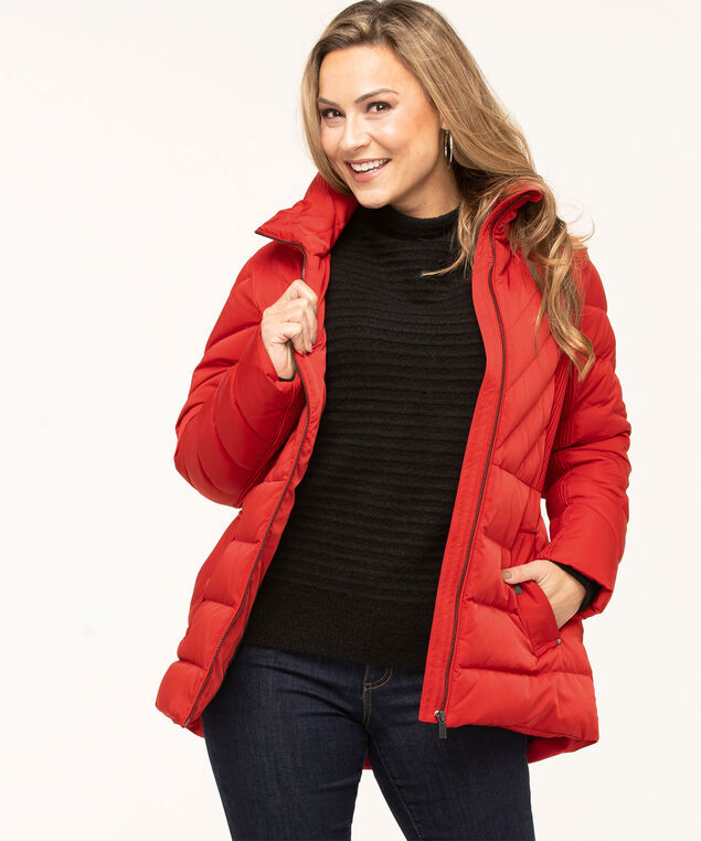 Red Feather Down Pintuck Coat, Red