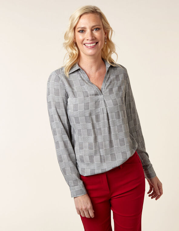 Herringbone Plaid Collared Blouse, Black/White, hi-res