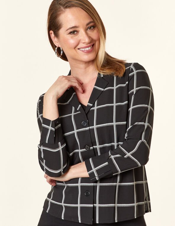 Checkered Button Blouse, Black, hi-res