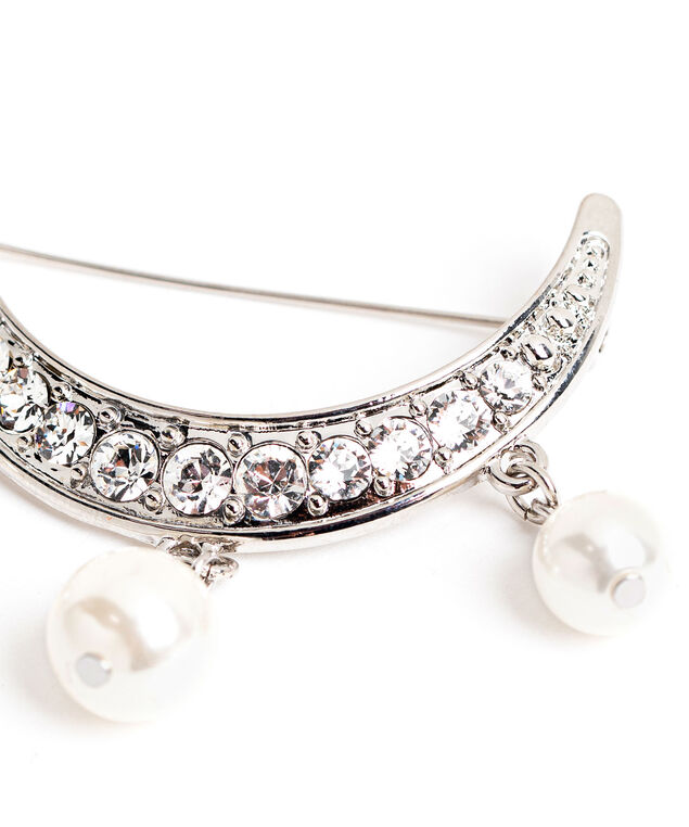 Half Moon Pearl Pin, Silver