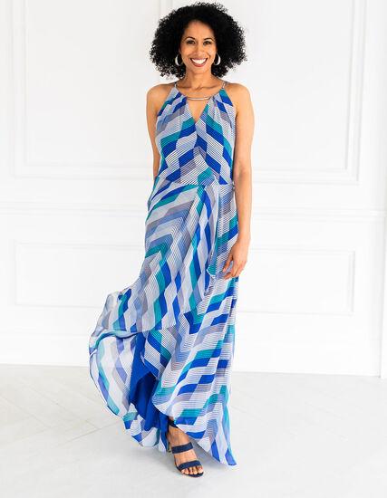 Blue Chiffon Maxi Dress, Blue, hi-res
