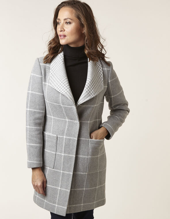 Grey Wool Blend Plaid Coat, Grey, hi-res
