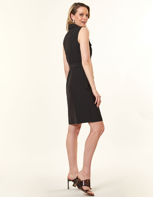 Collared Safari Dress, Black, hi-res