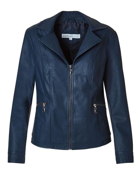 Deep Blue Faux Leather Jacket, Deep Blue, hi-res