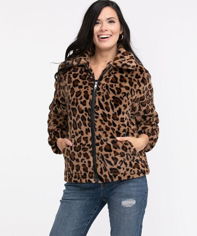 Faux Leopard Fun Fur Jacket, Leopard