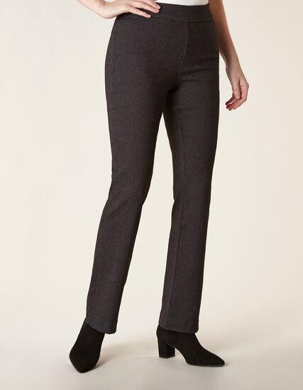 Black Patterned Bootcut Pant, Black, hi-res