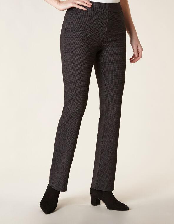 Black Patterned Bootcut Pant, Black