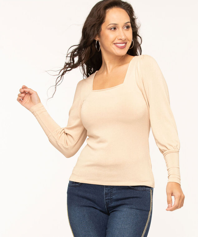 Square Neck Puff Sleeve Top, Beige Shimmer, hi-res
