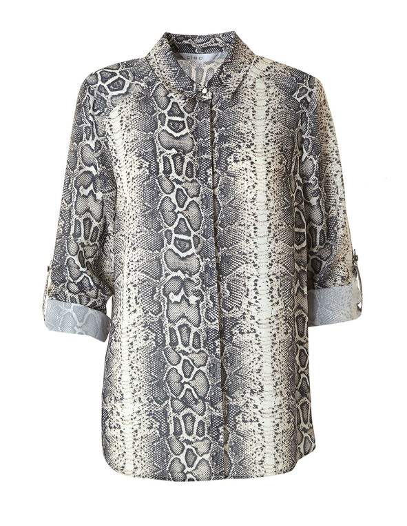 Snake Printed Button Down Blouse, Neutral, hi-res