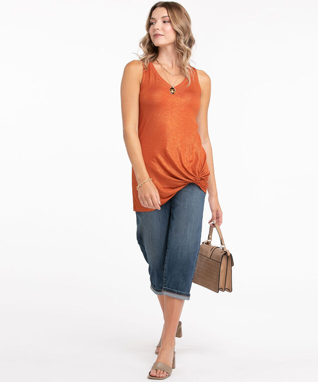 Shimmery Knotted Tunic Top, Cayenne Shimmer