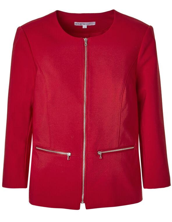 Red Collarless Zip Blazer, Red, hi-res