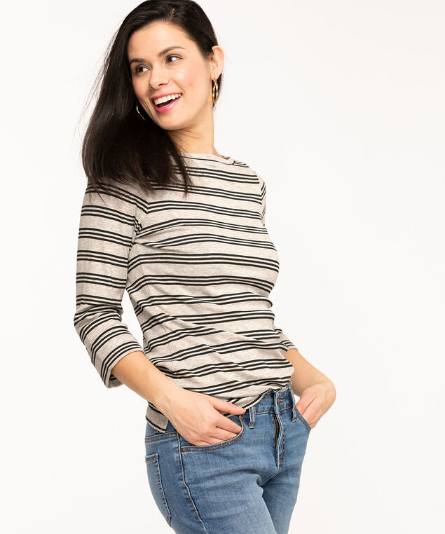 Striped 3/4 Sleeve Boat Neck Tee, Light Grey/Black