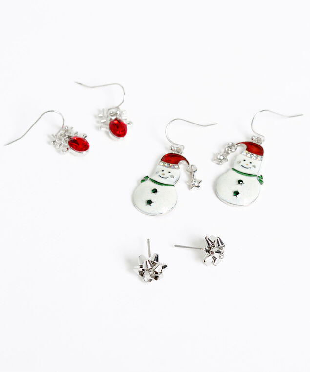 Festive Trio Earring Set, Silver/White/Red, hi-res