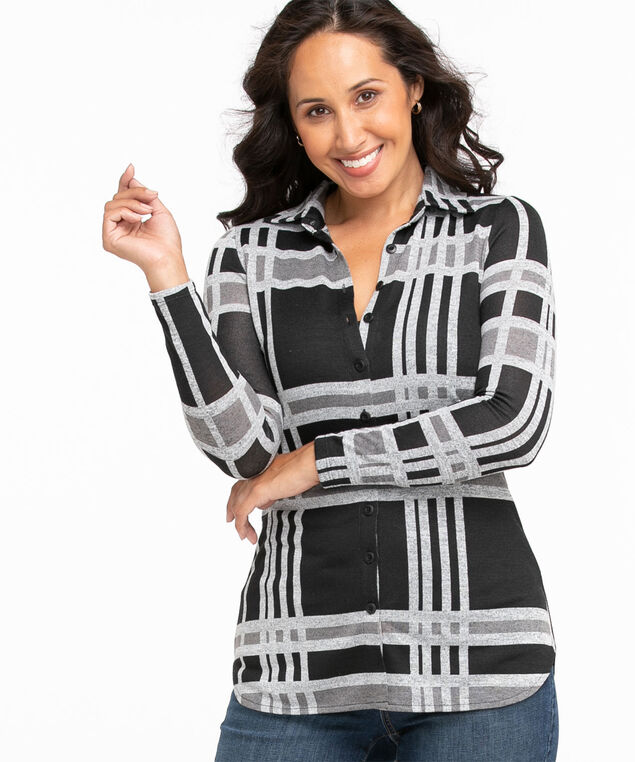 Collared Button Front Tunic Top, Black/Grey Plaid