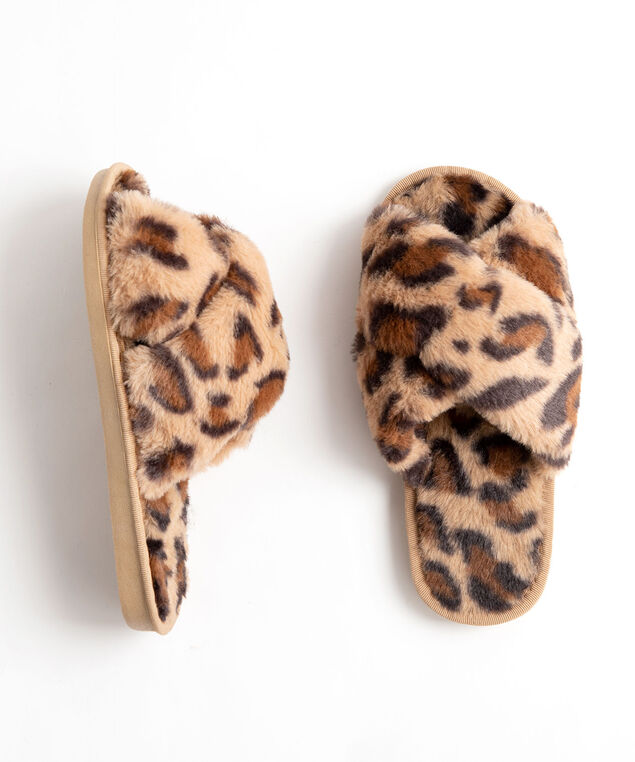 Animal Print Plush Slipper, Camel