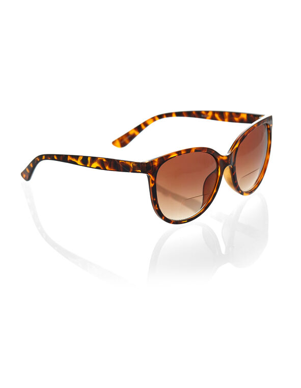 Tort Wayfarer Bi-Focal Sunglasses, Brown, hi-res