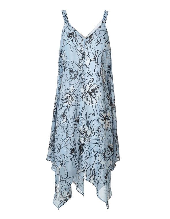 Blue Floral Chiffon Dress, Blue Floral, hi-res