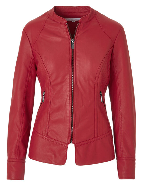 Red Split Faux Leather Jacket, Red, hi-res