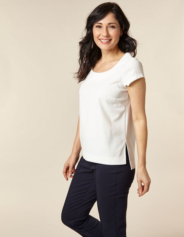 Ivory Solid Scuba Crepe Top, Ivory, hi-res