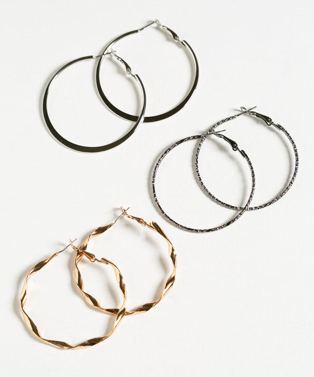 Mixed Metal Hoop Set, Gold/Silver, hi-res