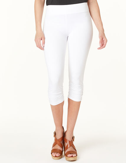 White Ruched Capri Legging, White, hi-res