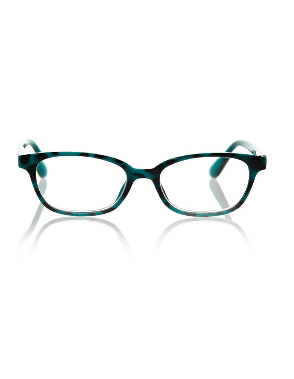 Turquoise Pattered Oval Readers, Turquoise, hi-res